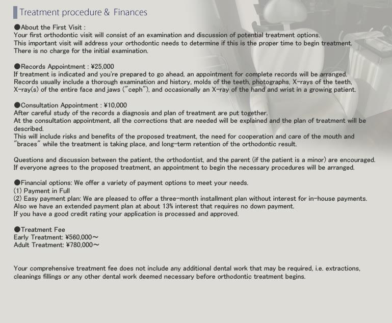 Treatment procedure&FinancesTOKYO-Nihonbashi Orthodontic Clinic